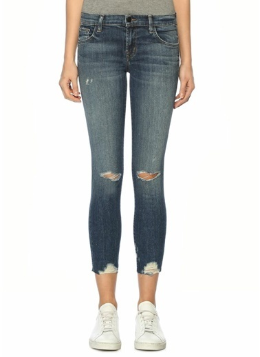J Brand Dar Paça Yırtık Jean Pantolon Mavi